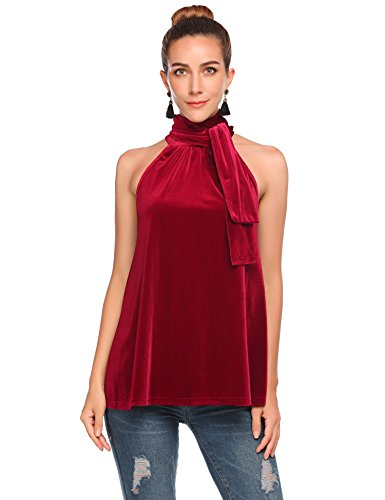 Thinice Women Party Tops Shirt Sexy Halter Tie Neck Sleeveless Velvet Tank Blouse