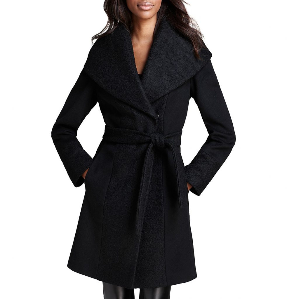Calvin Klein Belted Wrap Coat - Wrap up your look in Calvin Klein's timeless wool topper. A dramatic collar and waist-nipping belt are as feminine as they are sophisticated. Attached hood, drape foldover collar, snap front closure with boiled wool detail trim, slit pockets at hips, detachable belt with belt loops, concealed snap front closure - CLICK TO PURCHASE