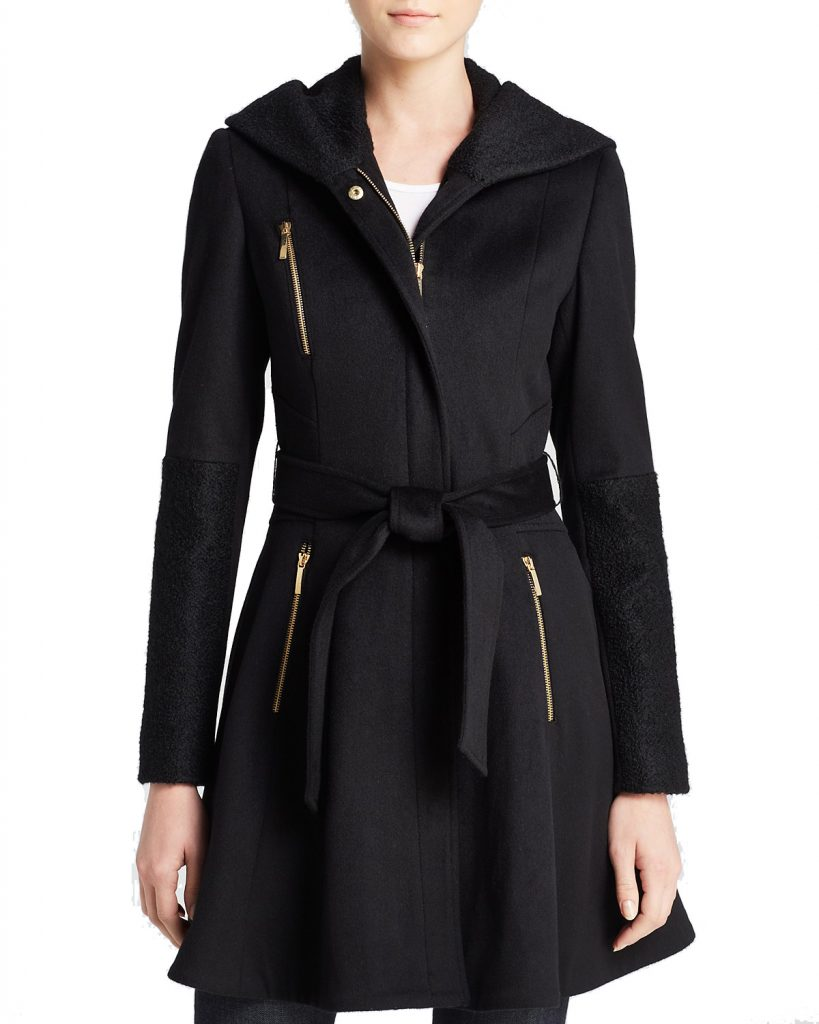 Laundry by Shelli Segal Wool Wrap Coat. Laundry by Shelli Segal's striking wrap coat features edgy gold-tone zips and a flirty, flared silhouette for a look that's both feminine and on-trend.