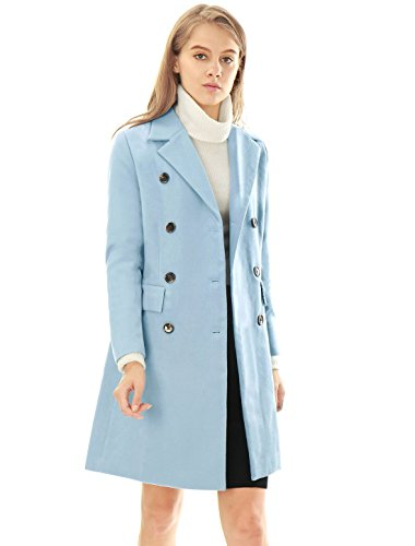 Allegra K Women's Notched Lapel Double Breasted Wool Blended Long Coat