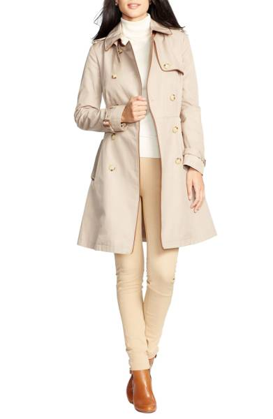 RALPH LAUREN Faux Leather Trim Trench Coat.