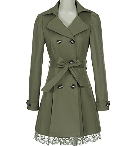 FV RELAY Women's Double-Breasted Bowknot Long Trench Coat With Belt and Lace Hem.