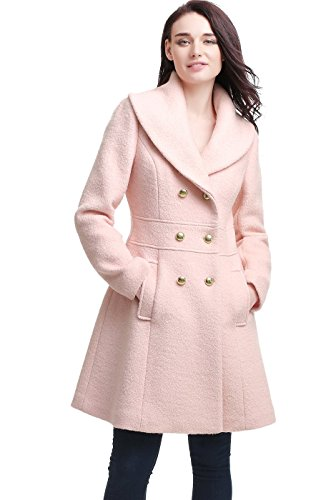 "BGSD Women's ""Mia"" Wool Blend Shawl Collar Boucle Walking Coat."