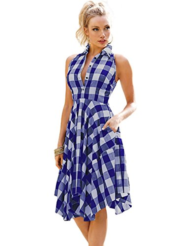 Joansam Women's Sleeveless Side Pockets Plaid Plated Casual Checks Flared High Low Midi Club Shirt Dress