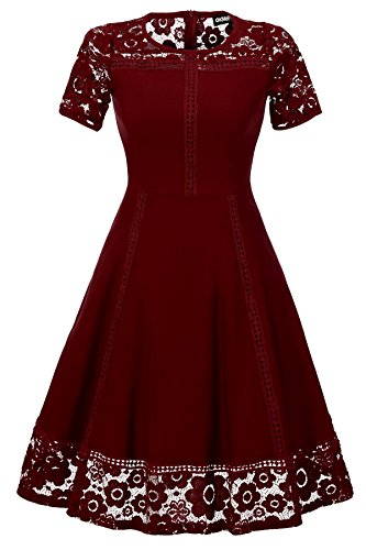 Gigileer Women's Vintage 1950s Floral Lace Contrast Cocktail Swing Dresses