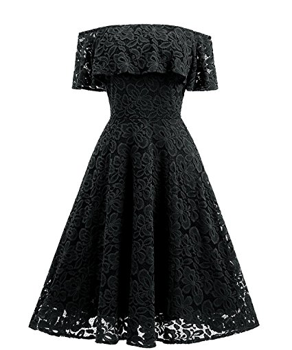 Gigileer Women's Vintage Floral Lace off shoulder Boat Neck Cocktail Swing Bold-shoulder Dresses