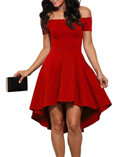 LOSRLY Women's Off The Shoulder Skater High low Homecoming Party Cocktail Dress