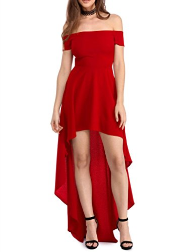 Sidefeel Women Off Shoulder High Low Maxi Party Dresses
