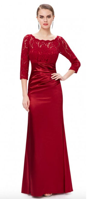 Lace Long Sleeve Formal Evening Dress