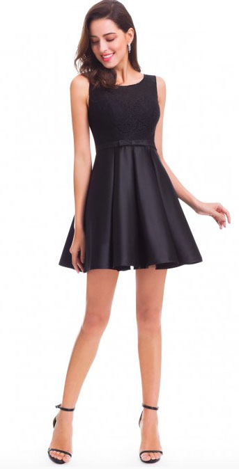 Fit and Flare Black Party Dress Image