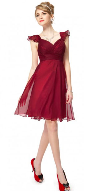 Flutter Sleeve Ruched Bust Bow Short Red Formal Party Dress. $21.99 (Originally $39.99).