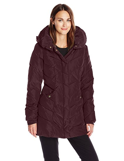 Steve Madden's Womens Packable Winter Chevron Fleece Lined Puffer Coat with Hood