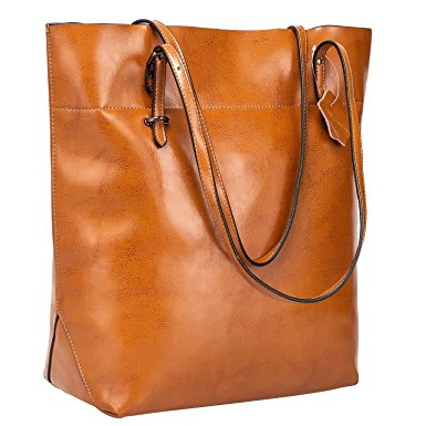 S-ZONE Vintage Genuine Leather Tote Shoulder Bag Handbag Big Large Capacity Upgraded Version. $53.99 (Regularly $63.99).