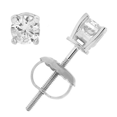 AGS Certified I1-I2 14K 1/3 CT Diamond Stud Earrings White Gold. $139.99 (Regularly $519.00).