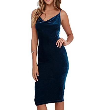 CHARLES RICHARDS Women's Cowl Neck Velvet Cami Bodycon Dress$24.99 (Regularly $50.00).