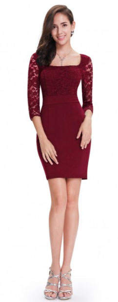 Alisa Pan Lace Long Sleeve Fitted Cocktail Party Dress