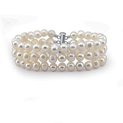 3-Row White Cultured Pearl Bracelet Image