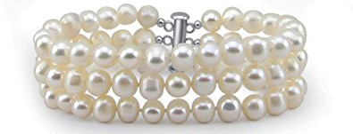 3-Row White A Grade 6.5-7mm Freshwater Cultured Pearl Bracelet, 7.5 by PearlPro $39.00 (Regularly $129..00)
