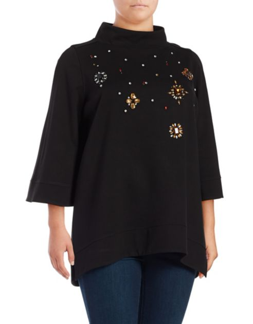 Melissa Mccarthy Seven7 Plus Embellished Funnelneck Top. $89.00 use code COUNTDOWN for 20% off