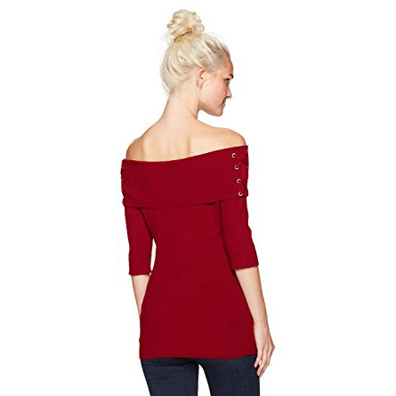 XOXO Women's Rib Off the Shoulder Lace up Pull Over Sweater. $34.95 (Regularly $49.00)