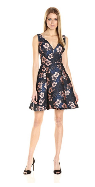 Betsey Johnson Women's Floral Jacquard Fit and Flare Dress