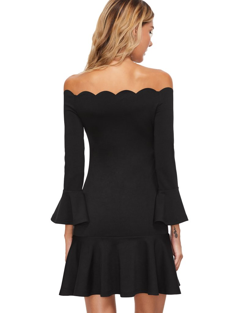 Scallop Off Shoulder Frill Dress. Spring Dresses. Women's Fashion.