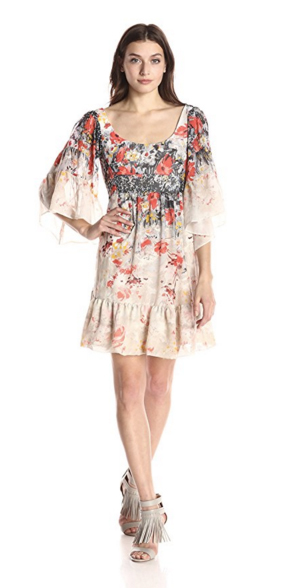 Betsey Johnson Women's Printed Full Skirt Textured Novelty Midi Dress