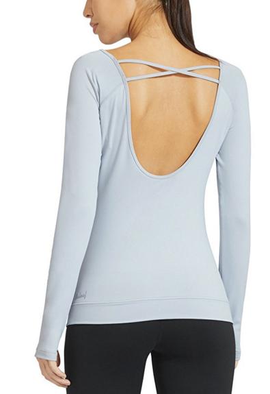Baleaf Women's Cowl Back Long Sleeve Workout Yoga Shirt.