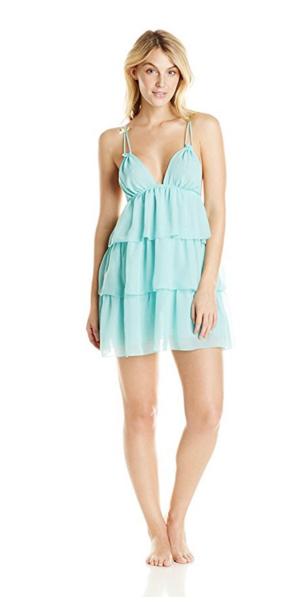 Betsey Johnson Women's Chiffon Tiered-Ruffle Babydoll Dress.