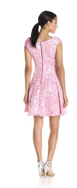 Betsey Johnson Women's Pink Jacquard Cap Sleeve Dress.