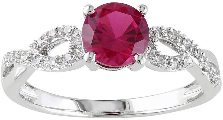 Lab-Created Ruby & 1/10 Carat T.W. Diamond Engagement Ring in 10k White Gold.