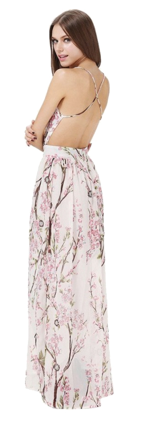 Floerns Backless Maxi Beach Dress Image