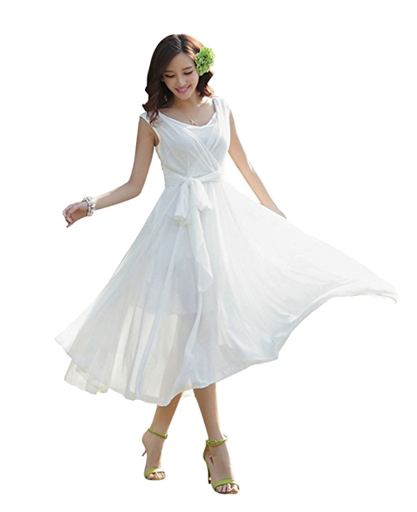 ilishop Women's Sleeveless Pleated Prom Party Chiffon Hot Summer Long Dress. Women's Fashion.