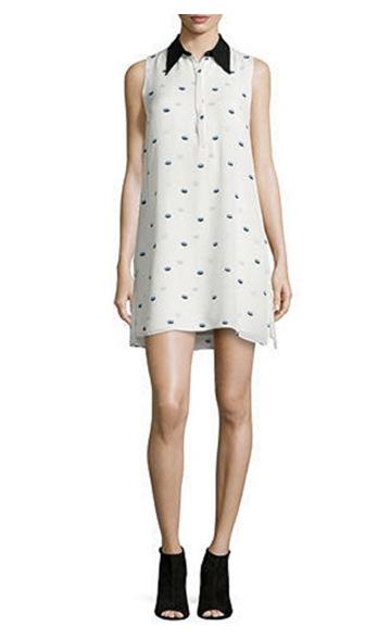 ALC Reese Lips Print Silk Georgette Sleeveless Shirtdress