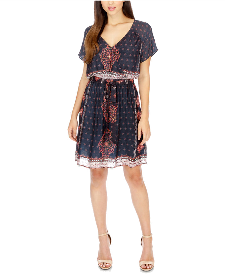 Lucky Brand Printed Surplice Tie Waist Dress.
