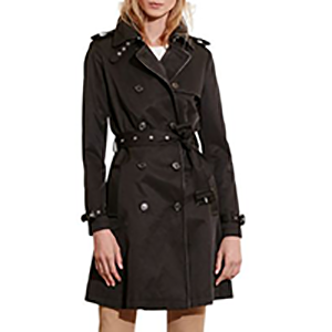 Ralph Lauren Faux Leather-Trim Trench Coat
