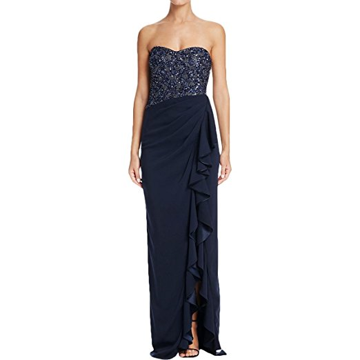 Badgley Mischka Womens Sequined Ruffled Evening Dress. Luxury for Less Women's Fashion