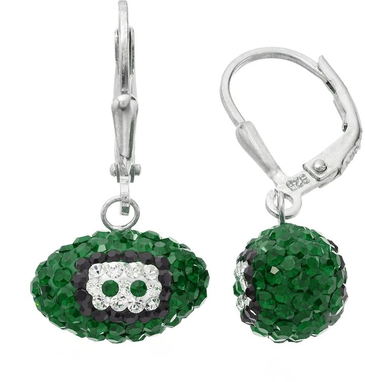 Philadelphia Eagles Crystal Sterling Silver Football Drop Earrings. Adorned with crystals in the team's primary colors, these football drop earrings are the perfect way to show your support for the Philadelphia Eagles. Comes in a gift box.