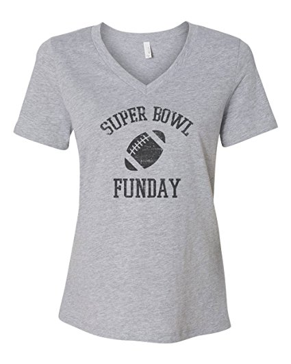 theSTASH Clothing Company Super Bowl Sunday Funday Women's Bella Canvas Relaxed Short Sleeve Jersey V-Neck T-Shirt Football Fan Tee New - Athletic Heather Grey.