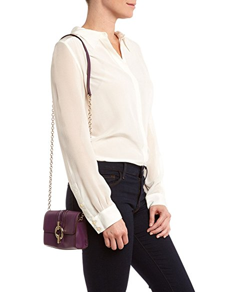 Viola Purple Sutra Micro Mini Leather Bag by Diane Von Furstenberg.