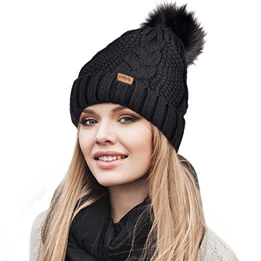 Women's Pom Pom Beanie Winter Hat Stretch Soft Knit Ski Cap.