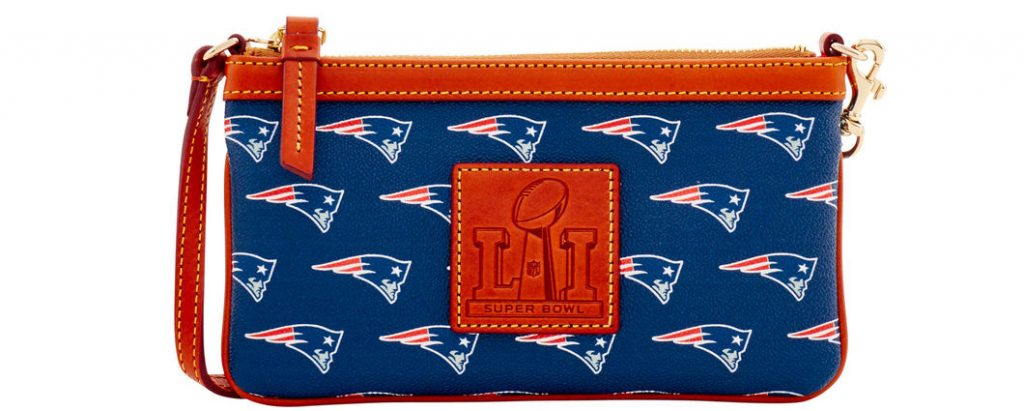 NFL Patriots Super Bowl Wristlet. $88.00. Super Bowl LI Champions! Rep your team with an officially licensed New England Patriots bag or accessory. The epitome of understated chic, this wristlet is the perfect all-in-one for your mobile phone and your cash and cards. It features a zip closure and a wrist strap.