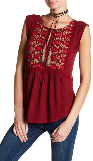 Lucky Brand Embroidered Bib Shell Blouse.
