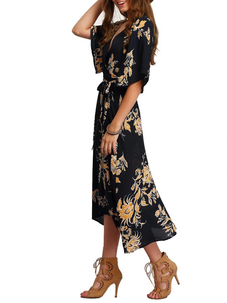 V-Neck Florals Wrap Dress. Spring Dresses. Women's Fashion.