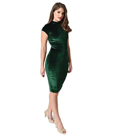 1960s Emerald Green Velvet Stretch Knit Cap Sleeve Holly Wiggle Dress by Unique Vintage. $63.80. Women's Fashion. Vintage Dresses. Fashion Sale Codes.