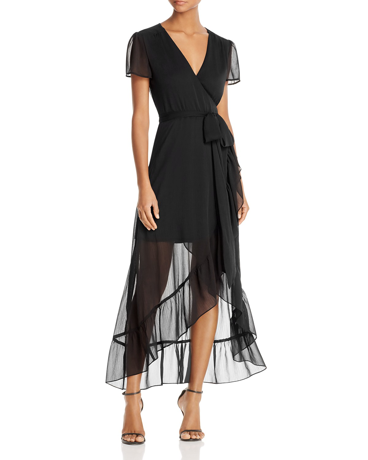 WAYF Ruffle Short-Sleeve Wrap Dress Image