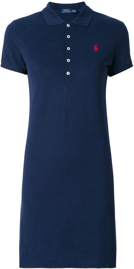 Polo Ralph Lauren fitted polo dress. Every season, Polo Ralph Lauren helps to redefine modern women's style. For SS18, Polo presents a timelessly fashionable collection where classic style meets modern streetwear, and comfortable sportswear meets luxurious colours and textures. Crafted from a soft cotton blend, this navy blue polo dress from Polo Ralph Lauren features a ribbed polo collar, short sleeves, a fitted silhouette, a short length and a front button placket. Olympic Fashion. Fashion and Invites.