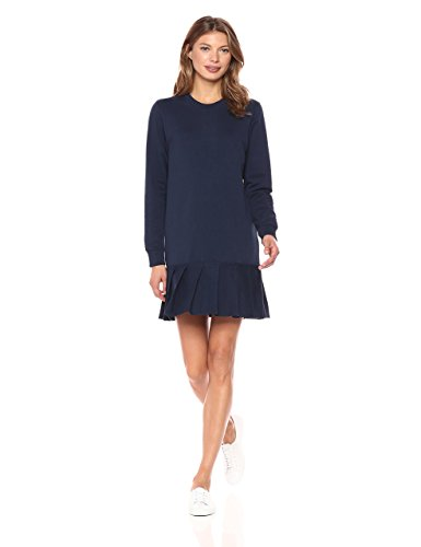Lacoste Women's Crepe Non-Brushed Fleece Sweater Dress with Pleated Bottom. Olympic Fashion. Fashion and Invites.