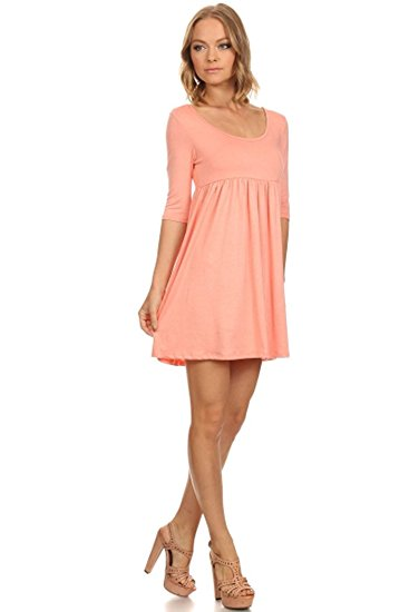Fashion Stream Women's 3/4 Sleeve Babydoll Dress