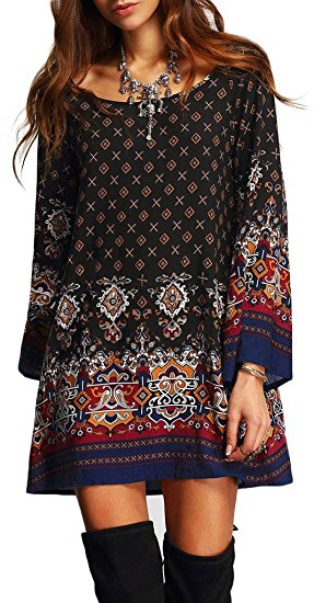 Risesun Women's Bohemian Vintage Printed Babydoll Dress.